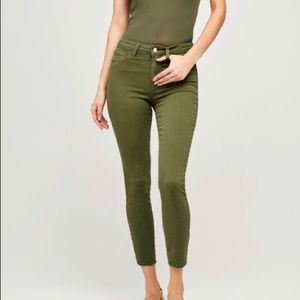 L' AGENCE Margot High Rise Skinny Jeans in Olive